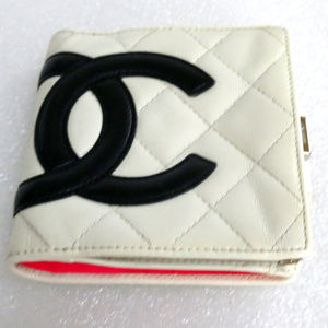 Auth CHANEL Cambon Quilted Compact Wallet Clutch